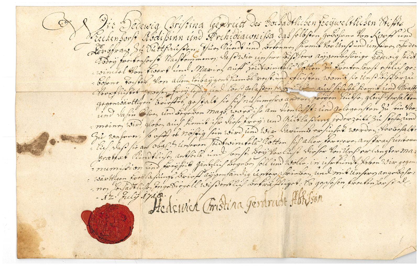 Freibrief (Entlassung aus der Leibeigenschaft) Freckenhorst, 1710 Juli 12